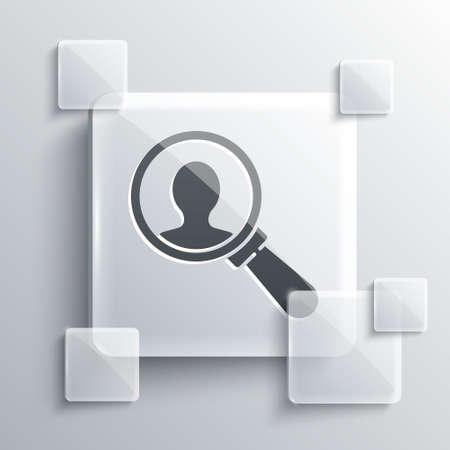 Grey Magnifying glass for search a people icon isolated on grey background. Recruitment or selection concept. Search for employees and job. Square glass panels. Vector. Illusztráció