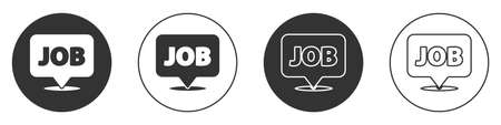 Black Speech bubble with job icon isolated on white background. Recruitment or selection concept. Search for employees and job. Circle button. Vector.