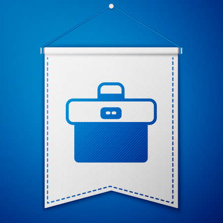 Blue Briefcase icon isolated on blue background. Business case sign. Business portfolio. White pennant template. Vector.