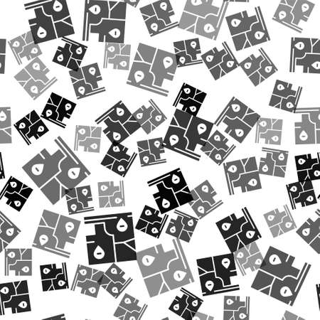 Black Folded map with location marker icon isolated seamless pattern on white background. Vector. Illustration