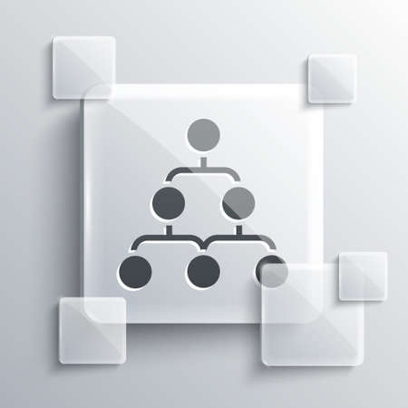 Grey Business hierarchy organogram chart infographics icon isolated on grey background. Corporate organizational structure graphic elements. Square glass panels. Vector. Ilustrace
