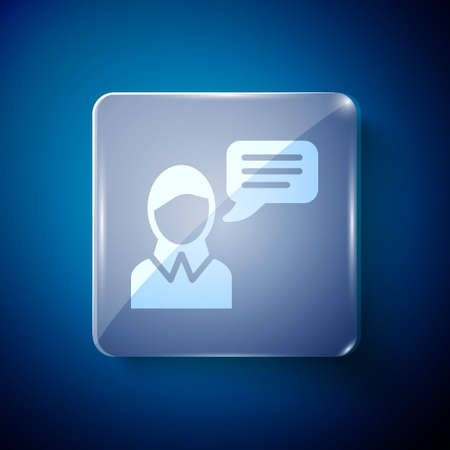 White Speech bubble chat icon isolated on blue background. Message icon. Communication or comment chat symbol. Square glass panels. Vector.