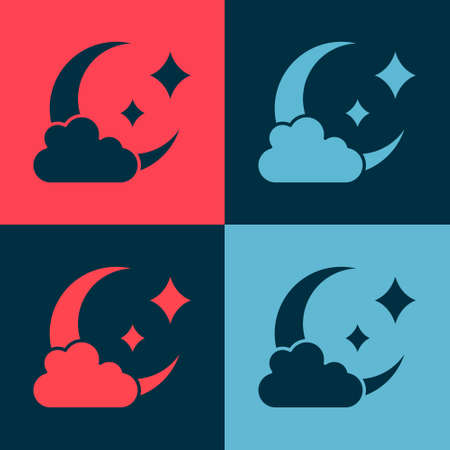 Pop art Cloud with moon icon isolated on color background. Cloudy night sign. Sleep dreams symbol. Night or bed time sign. Vector.