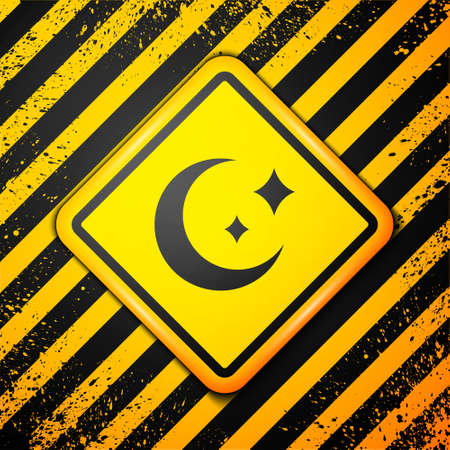 Black Moon and stars icon isolated on yellow background. Warning sign. Vector.