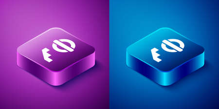Isometric London underground icon isolated on blue and purple background. Square button. Vector. Illusztráció