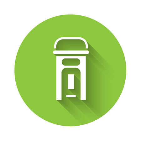 White London phone booth icon isolated with long shadow. Classic english booth phone in london. English telephone street box. Green circle button. Vector.