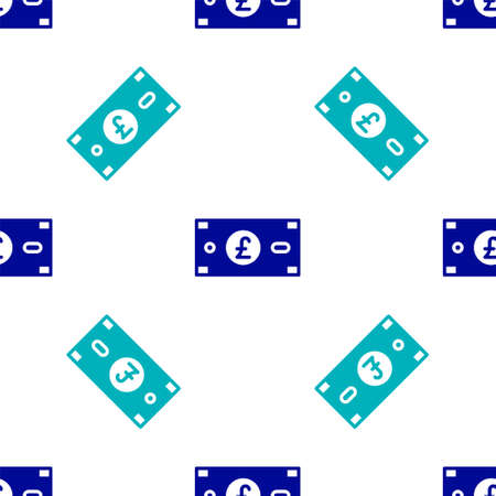 Blue Pound sterling money icon isolated seamless pattern on white background. Pound GBP currency symbol. Vector.
