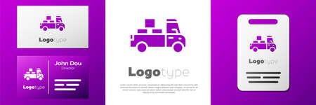 Logotype Delivery truck with cardboard boxes behind icon isolated on white background.