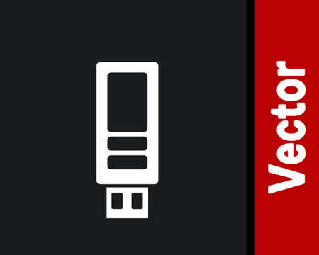 White USB flash drive icon isolated on black background. Vector.