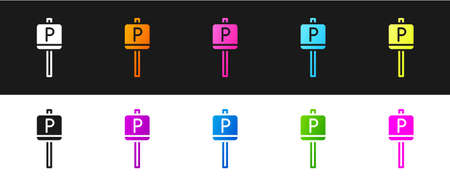Set Parking icon isolated on black and white background. Street road sign. Vector.