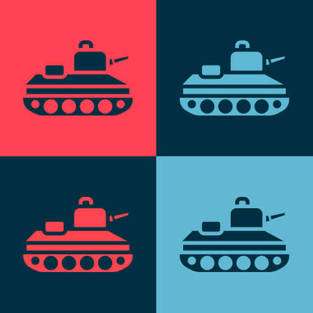 Pop art Military tank icon isolated on color background. Vector.