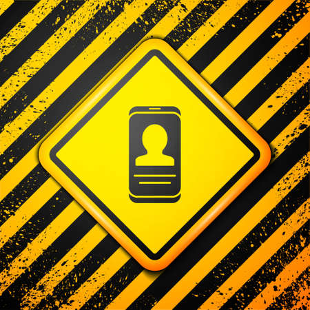 Black Mobile with resume icon isolated on yellow background. CV application. Searching professional staff. Analyzing personnel resume. Warning sign. Vector.