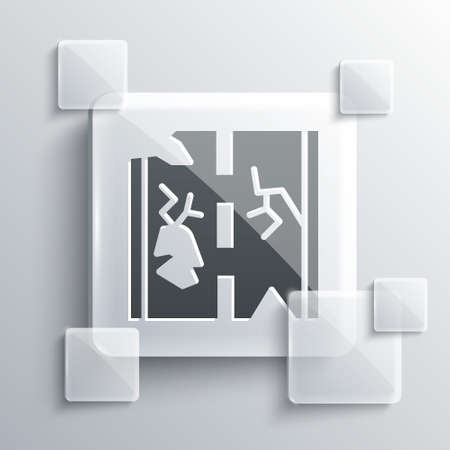 Grey Broken road icon isolated on grey background. Square glass panels. Vector.