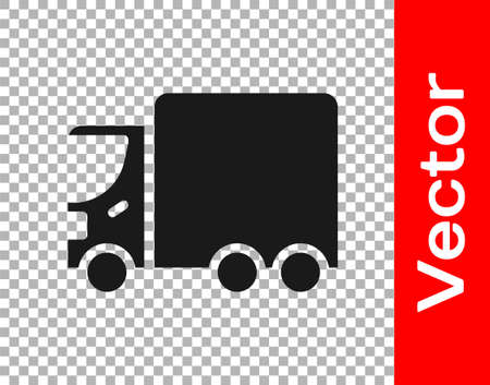 Black Delivery cargo truck vehicle icon isolated on transparent background. Vector. 向量圖像