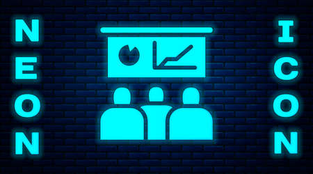 Glowing neon Training, presentation icon isolated on brick wall background. Vector.
