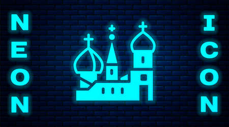 Glowing neon Moscow symbol - Saint Basil's Cathedral, Russia icon isolated on brick wall background.  Vector. Archivio Fotografico - 150981131