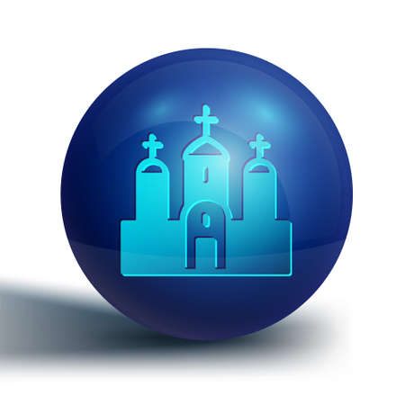 Blue Church building icon isolated on white background. Christian Church. Religion of church. Blue circle button. Vector. Archivio Fotografico - 150981134
