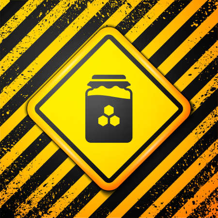 Black Jar of honey icon isolated on yellow background. Food bank. Sweet natural food symbol. Warning sign. Vector. 向量圖像