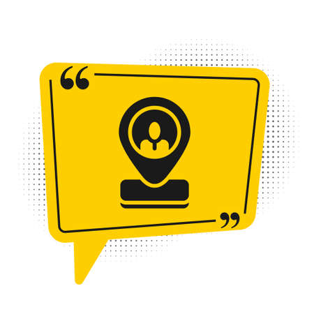 Black Worker location icon isolated on white background. Yellow speech bubble symbol. Vector.