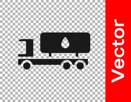 Black Tanker truck icon isolated on transparent background. Petroleum tanker, petrol truck, cistern, oil trailer. Vector.
