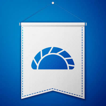 Blue Dumpling icon isolated on blue background. Traditional chinese dish. White pennant template. Vector.