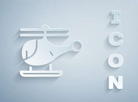 Paper cut Helicopter aircraft vehicle icon isolated on grey background. Paper art style. Vector.