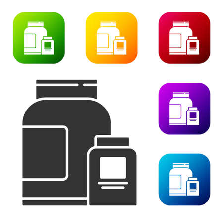 Black Sports nutrition bodybuilding proteine power drink and food icon isolated on white background. Set icons in color square buttons. Vector.