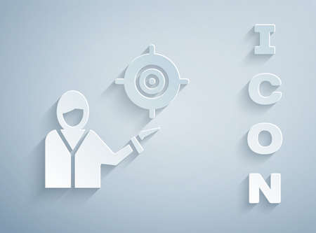 Paper cut Marketing target strategy concept icon isolated on grey background. Aim with people sign. Paper art style. Vector.