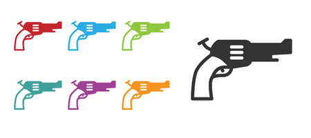 Black Revolver gun icon isolated on white background. Set icons colorful. Vector.