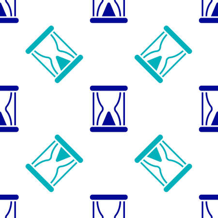 Blue Old hourglass with flowing sand icon isolated seamless pattern on white background. Sand clock sign. Business and time management concept. Vector.