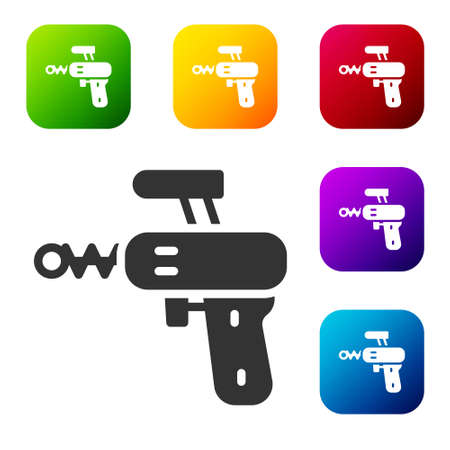 Black Ray gun icon isolated on white background. Laser weapon. Space blaster. Set icons in color square buttons. Vector. 스톡 콘텐츠 - 150980789