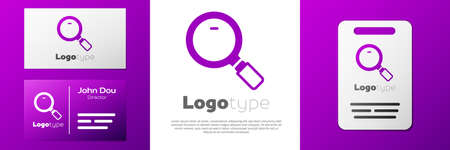 Logotype Magnifying glass icon isolated on white background. Search, focus, zoom, business symbol.