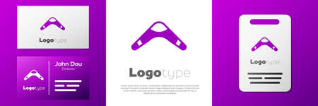 Logotype Boomerang icon isolated on white background.   design template element. Vector.