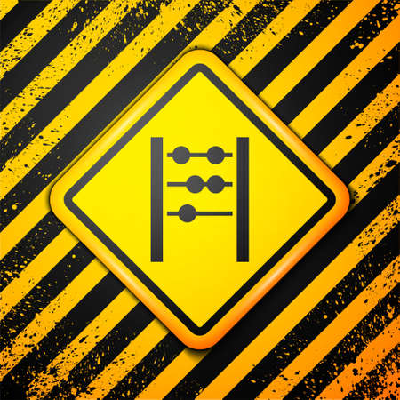 Black Abacus icon isolated on yellow background. Traditional counting frame. Education sign. Mathematics school. Warning sign. Vector. 일러스트