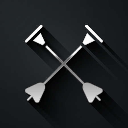 Silver Arrow with sucker tip icon isolated on black background. Long shadow style. Vector.