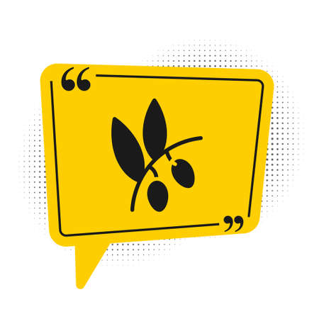 Black Olives branch icon isolated on white background. Yellow speech bubble symbol. Vector.
