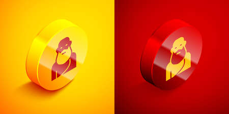 Isometric Socrates icon isolated on orange and red background. Sokrat ancient greek Athenes ancient philosophy. Circle button. Vector. Çizim