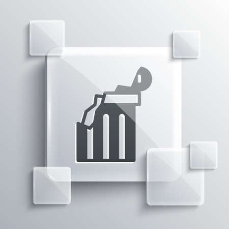 Grey Broken ancient column icon isolated on grey background. Square glass panels. Vector.