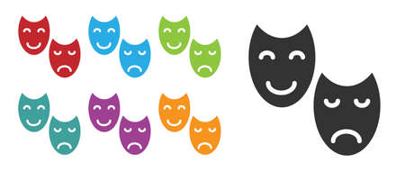 Black Comedy and tragedy theatrical masks icon isolated on white background. Set icons colorful. Vector.