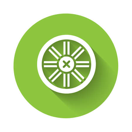 White Old wooden wheel icon isolated with long shadow. Green circle button. Vector. Illustration