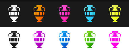 Set Ancient amphorae icon isolated on black and white background. Vector.