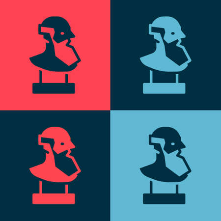 Pop art Ancient bust sculpture icon isolated on color background. Vector.