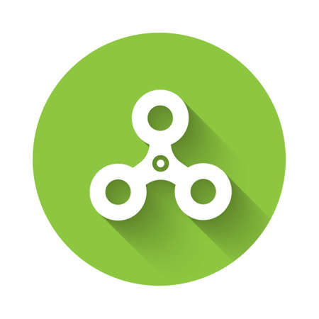 White Fidget spinner icon isolated with long shadow. Stress relieving toy. Trendy hand spinner. Green circle button. Vector.