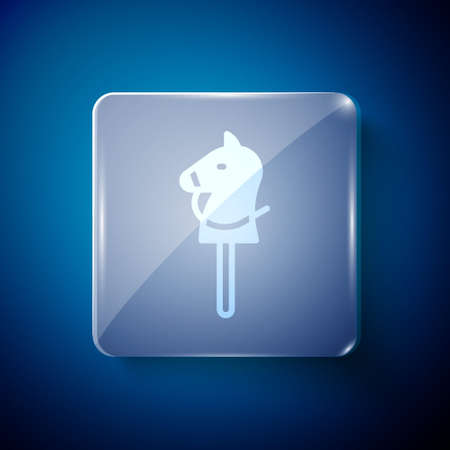 White Toy horse icon isolated on blue background. Square glass panels. Vector. 일러스트