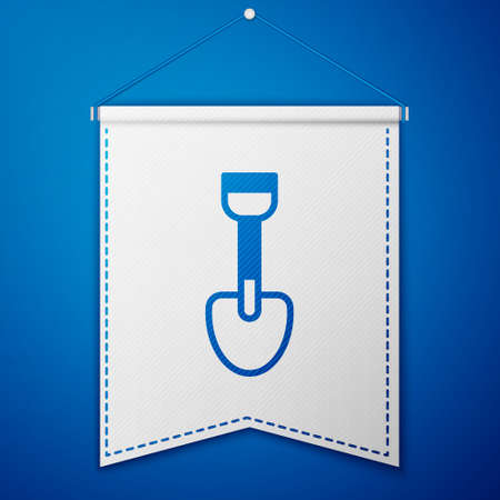 Blue Shovel toy icon isolated on blue background. White pennant template. Vector.