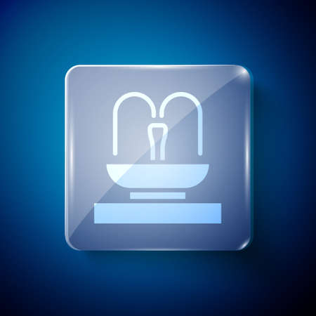 White Fountain icon isolated on blue background. Square glass panels. Vector.
