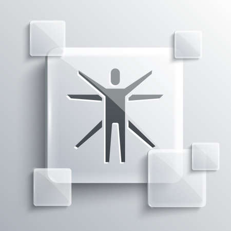 Grey Vitruvian Man by Leonardo Da Vinci icon isolated on grey background. Human anatomy. Square glass panels. Vector.