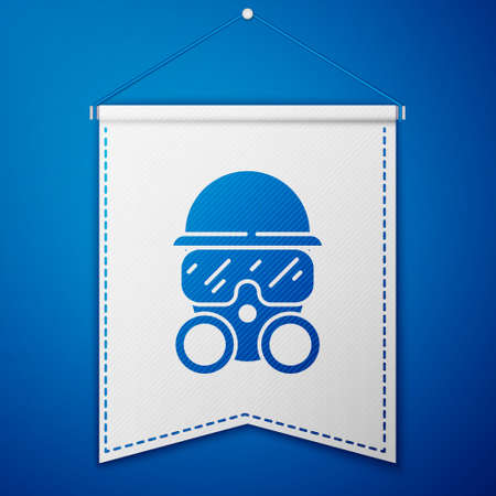 Blue Gas mask icon isolated on blue background. Respirator sign. White pennant template. Vector.
