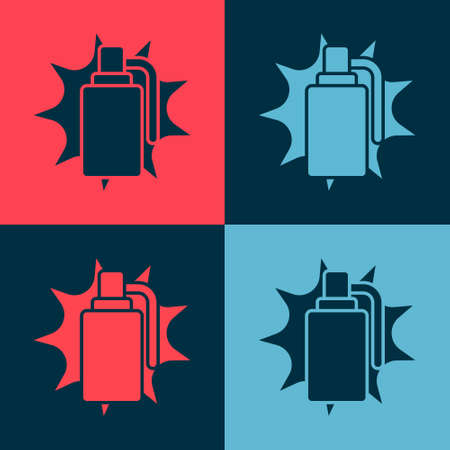 Pop art Hand grenade icon isolated on color background. Bomb explosion. Vector. Illusztráció