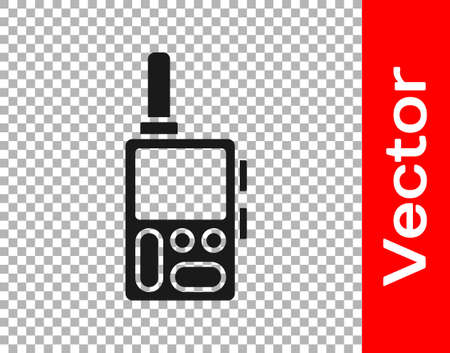Black Walkie talkie icon isolated on transparent background. Portable radio transmitter icon. Radio transceiver sign.  Vector.
